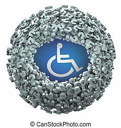 ottenere, domanda, carrozzella, incapacità, risposte, invalido, persona, illustrazione, contrassegni, simbolo, 3d
