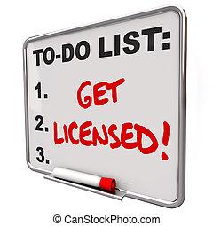 ottenere, elenco, concesso in licenza, asse, parole, approvazione, autorizzazione