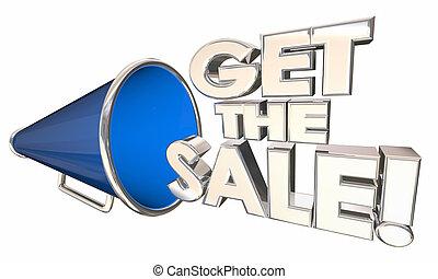 ottenere, il, vendita, bullhorn, megafono, vendita, successo, parole, 3d, illustrazione