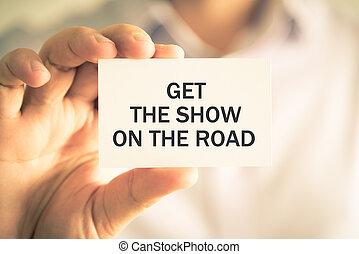 ottenere, mostra, strada, presa a terra, uomo affari, messaggio, scheda