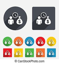 ottenere, soldi, simbolo., digiuno, segno, icon., prestiti, ...