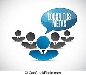 ottenere, tuo, mete, lavoro squadra, segno, in, spanish.