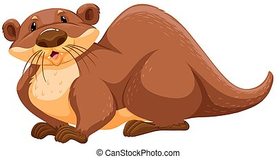 Brown otter sitting pose on white background
