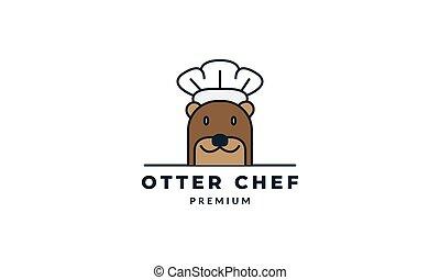 otter cooking vector illustration design