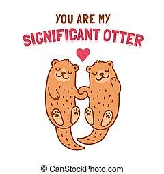 Otter couple holding hands - Cute cartoon otter couple...