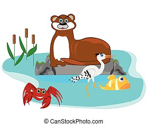 Otter in lake