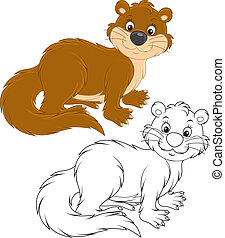 Otter - River otter, color and black-and-white illustrations...
