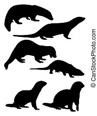 Otter silhouettes 01.