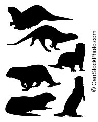 Otter silhouettes 02.