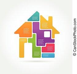 otthon, állhatatos, -, ikon, infographics
