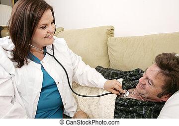 otthon, ápoló, egészség, -, barátságos