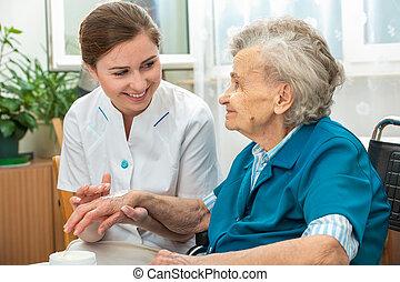 otthon, ápoló, nő, elősegít, öregedő