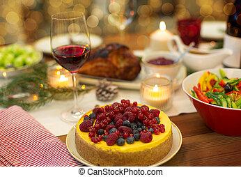 otthon, élelmiszer, asztal, más, torta, karácsony