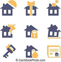 otthon, és, épület, biztosítás, kockáztat, ikonok