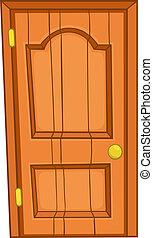 otthon, ajtó, karikatúra