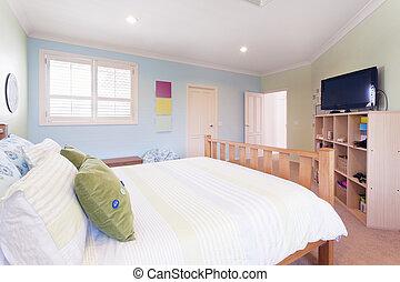 otthon, ausztrál, modern, hálószoba