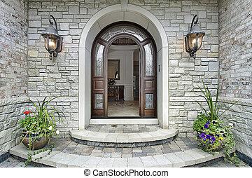 otthon, bejárat, megkövez, íves, fényűzés