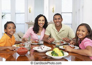 otthon, birtoklás, együtt, család étkezés