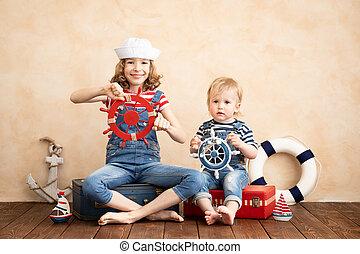 otthon, boldog, játék, gyerekek