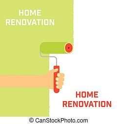 otthon, concept., helyreállítás