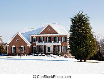 otthon, egyedülálló, modern, hó, család