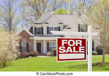 otthon, eladó, valódi telep cégtábla, és, épület