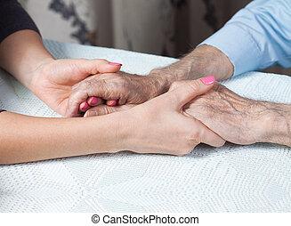 otthon, elderly., törődik