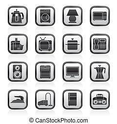otthon, felszerelés, ikonok