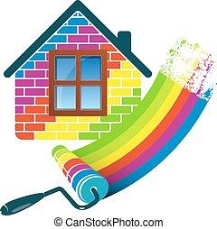 otthon, festmény, hajcsavaró
