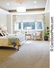 otthon, hálószoba, fényűzés, új