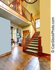 otthon, hegy, staircase., fényűzés, bejárat