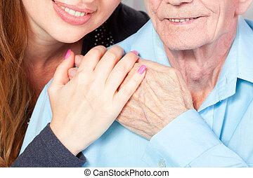 otthon, idősebb ember, caregiver, neki, ember