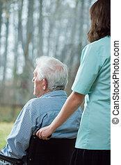 otthon, idősebb ember, elhagyott, gondozás