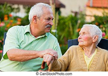 otthon, idősebb ember, gondozás, emberek