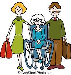 otthon, idősebb ember, mozgató, gondozás