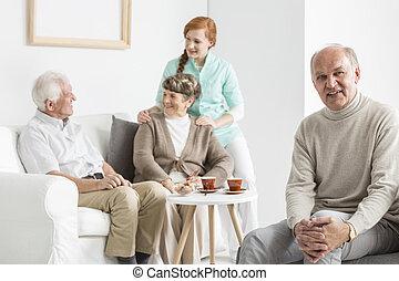 otthon, idősebb, gondozás, emberek