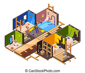 otthon, isometric, állhatatos, helyreállítás, rendbehozás
