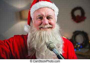 otthon, klaus, karácsony, szent, éneklés, mosolygós, songs