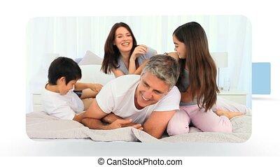 otthon, montázs, percek, osztozás, együtt, család