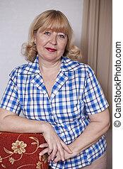 otthon, nő, öregedő, portré