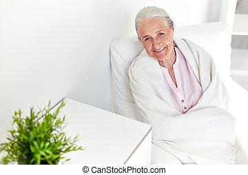 otthon, nő, öregedő