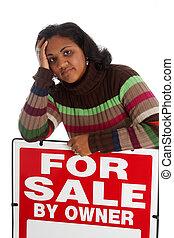 otthon, nő, eladás