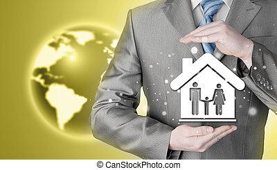 otthon, oltalmaz, üzletember, család, kézbesít