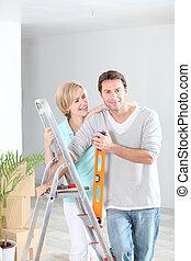 otthon, párosít, újrafestő