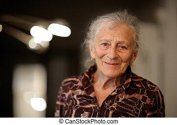 otthon, senior woman, portré