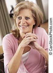 otthon, senior woman, szék, bágyasztó