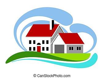 otthon, színes, ikon