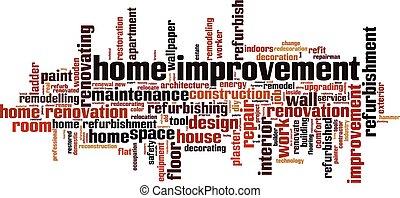 otthon, szó, felhő, javítás