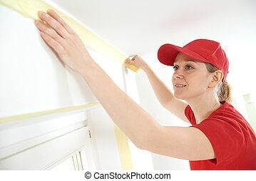 otthon, szobafestő, noha, álarc mérőszalag