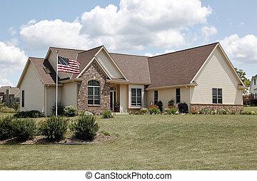 otthon, tégla, lobogó, amerikai